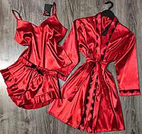 Шелковый комплект домашней одежды халат и пижама.