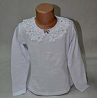 Блузка трикотажная с ажурным воротником