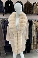 Пальто из шерстяной ткани с отделкой песцом Элина