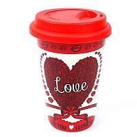 Кружка с силиконовой крышкой в подарочной упаковке Love - 203607