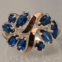 Серебряное кольцо Sil с золотыми вставками Танзанит Sil-116, КОД: 1137714