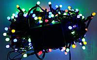 Гирлянда  МАТОВАЯ 300 LED 5mm на черном проводе, разноцветная