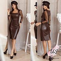 Стильное кожаное облегающее платье с рукавом-сеткой. 3 цвета!, фото 1