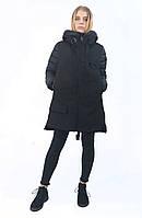 Женская куртка зимняя Clasna. Классический черный цвет.