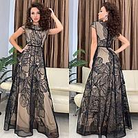 Роскошное платье в пол (черная сетка)