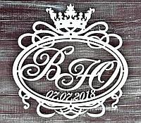 Фамильный Герб Белый с датой 60х60см Свадебные Инициалы из дерева, деревянная монограмма, семейный на свадьбу