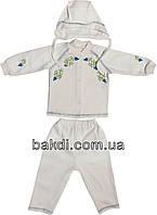 Детский костюм рост 62 (2-3 мес.) интерлок белый на мальчика (нарядный комплект на выписку) для новорожденных Б-055