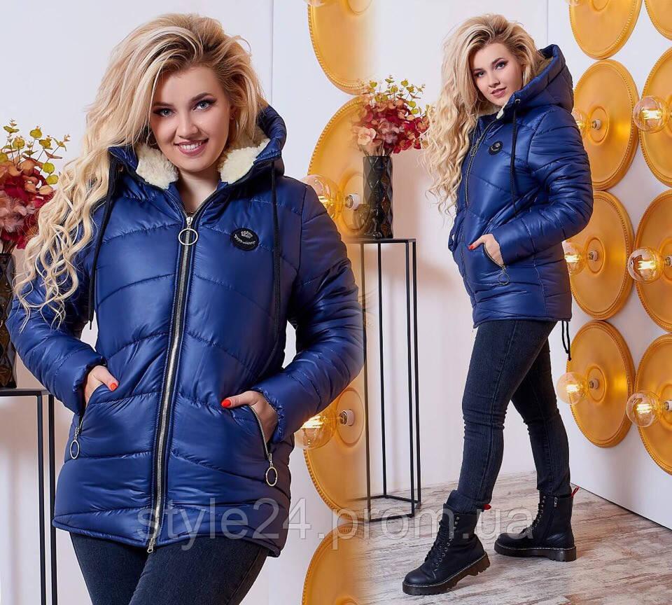 Жіноча батальна куртка на синтепоні та овчині, 4 кольори.Р-ри 48-58