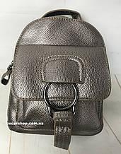 Серебристый рюкзак  Alex Rai. Размер 21*18. Женская сумка  Кожаный портфель С19