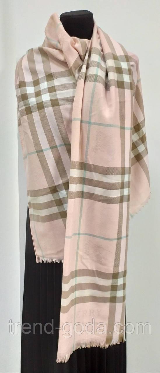 Шарф кашемировый в клеточку, розовый цвет, фирма Burberry (реплика)