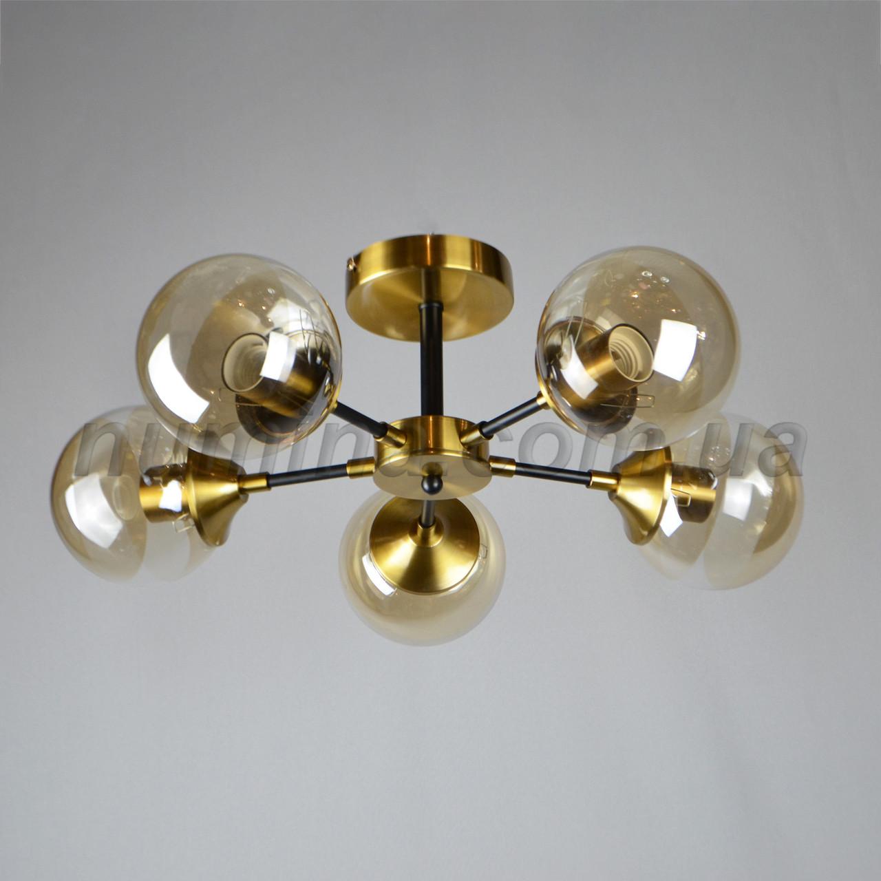 Люстра потолочная на пять ламп 06-2713/5 GD+BK+BR