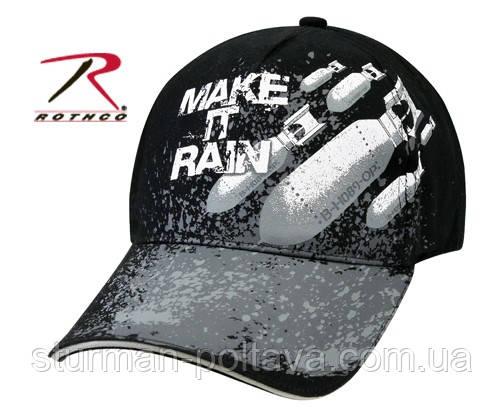 Бейсболка  мужская   с рисунком    MAKE IT RAIN - BLACK  цвет   черный хлопок твил    Rotcho