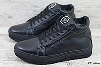 Мужские кожаные зимные ботинки Philipp Plein (Реплика) (Код: PP ч/бот  ) ►Размеры [40,41,42,43,44,45]
