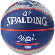 М'яч баскетбольний Spalding NBA Sketch Robot Outdoor Size 7