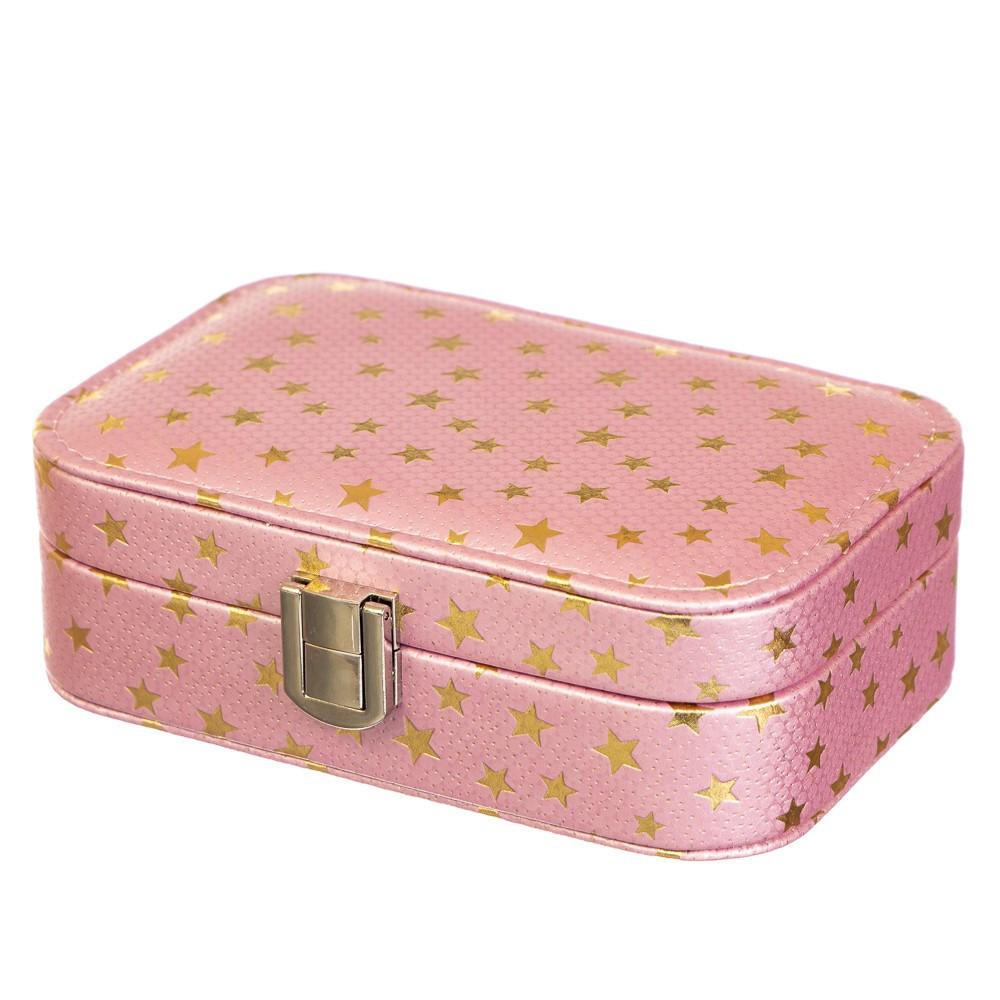 Шкатулка для украшений розовая с зеркальцем кейс для прикрас 15х9х4,5 см 8030-002 органайзер