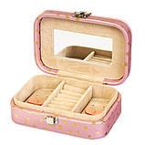 Шкатулка для украшений розовая с зеркальцем кейс для прикрас 15х9х4,5 см 8030-002 органайзер, фото 2