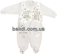 Детский человечек рост 62 (0-3 мес.) трикотаж белый на мальчика (нарядный слип на выписку) для новорожденных ТН-159