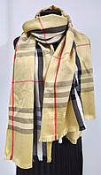 Шарф кашемировый в клеточку, бежевый цвет, фирма Burberry (реплика)
