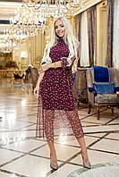 Нарядное платье из креп дайвинга + накладная юбка сетка, застёжка змейка, на поясе резинка (42-48), фото 1