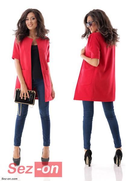 Кашемірове Пальто жіноче з короткими рукавами ― Червоний