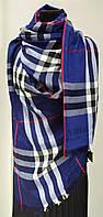 Шарф кашемировый в клеточку, синего цвета, фирма Burberry (реплика)