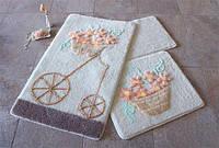 Набор ковриков  для ванной комнаты 1 ALESSIA набор (3 предмета). Бежевый