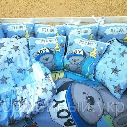 Комплект в детскую кроватку 8в1 Спальный комплект для мальчика, фото 2