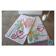 Набор ковриков  для ванной комнаты 26 ALESSIA набор (3 предмета). Бабочка на цветке