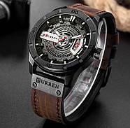 Мужские часы Curren 8301 с черным циферблатом и коричневым ремешком, Чоловічий наручний годинник, фото 3