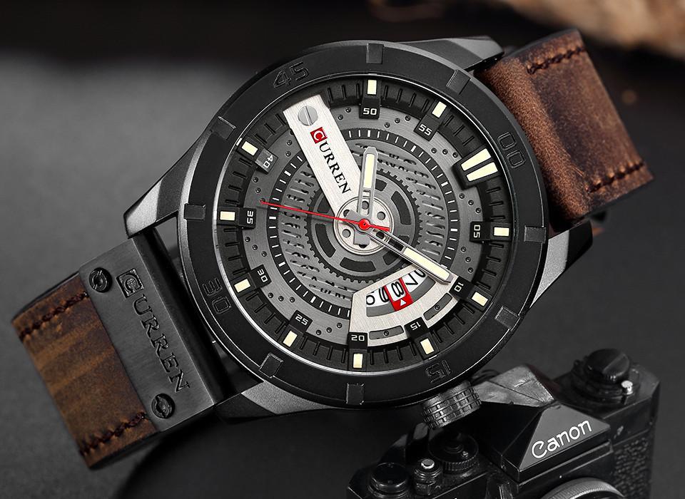 Мужские часы Curren 8301 с черным циферблатом и коричневым ремешком, Чоловічий наручний годинник