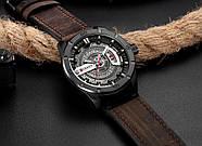 Мужские часы Curren 8301 с черным циферблатом и коричневым ремешком, Чоловічий наручний годинник, фото 2