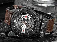 Мужские часы Curren 8301 с черным циферблатом и коричневым ремешком, Чоловічий наручний годинник, фото 5