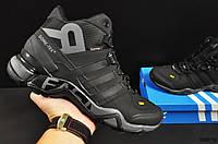 Кроссовки зимние Adidas Terrex 465 мужские, черные, в стиле Адидас Террекс, Нубук, мех, прошиты. KR-20670