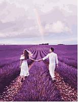 Картина по номерам Пара в лавандовом поле Валенсоль 40х50 см
