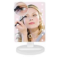 Дзеркало макіяжне з підсвіткою 16 LED, біле / Зеркало для макияжа, настольное с подсветкой 16 LED, белое, фото 1