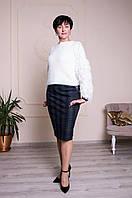 Стильная женская юбка Фиби с принтом в клетку серая, фото 1