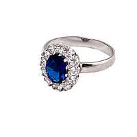 Серебряное кольцо 925 пробы с камнями циркон цвета сапфир покрытое родием .Малинка