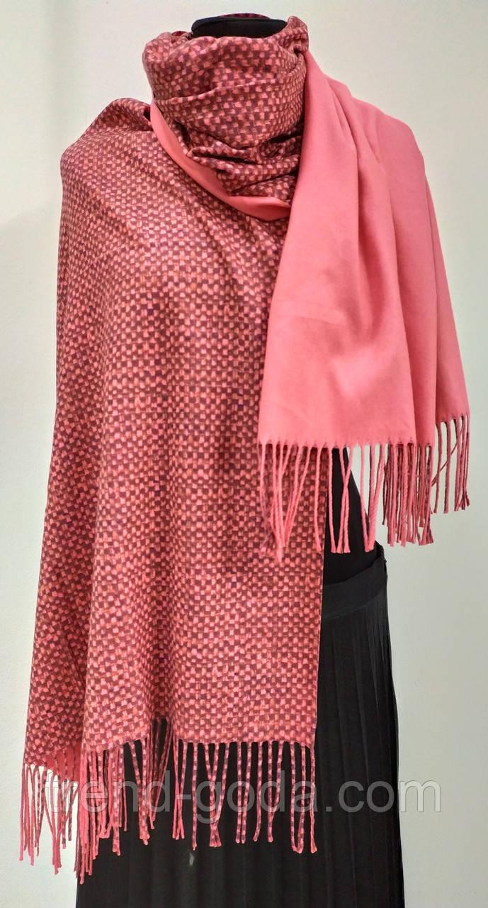Шарф кашемировый двухсторонний, рогожка, розового цвета