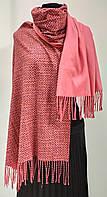 Шарф кашемировый двухсторонний, рогожка, розового цвета, фото 1