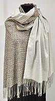 Шарф кашемировый двухсторонний, рогожка, серого цвета, фото 1