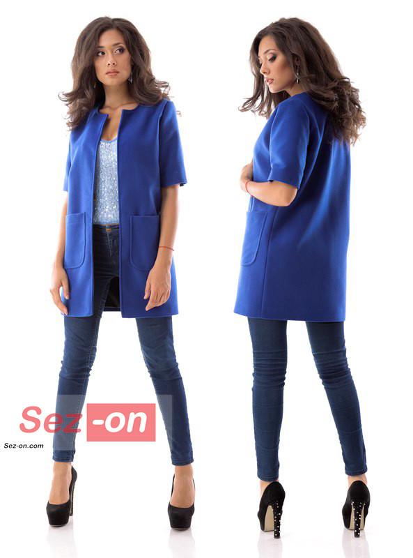 Кашемірове Пальто жіноче з короткими рукавами ― Синій