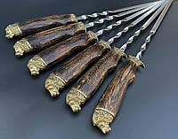 Подарочные шампуры Лев в чехле из плотной ткани 6шт