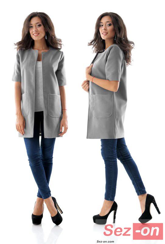 Кашемірове Пальто жіноче з короткими рукавами ― Сірий