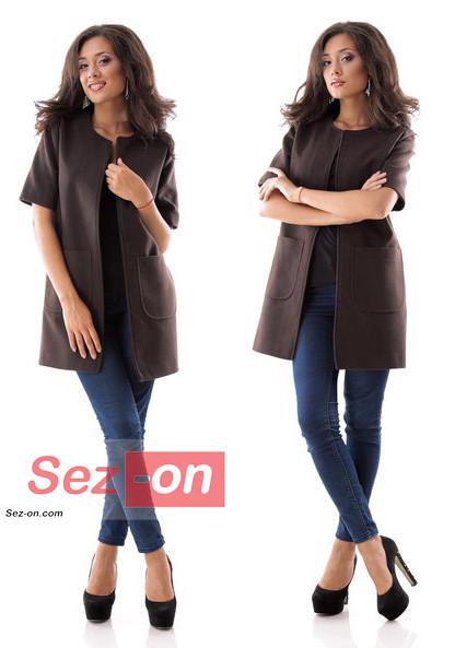 Кашемірове Пальто жіноче з короткими рукавами ― Коричневий