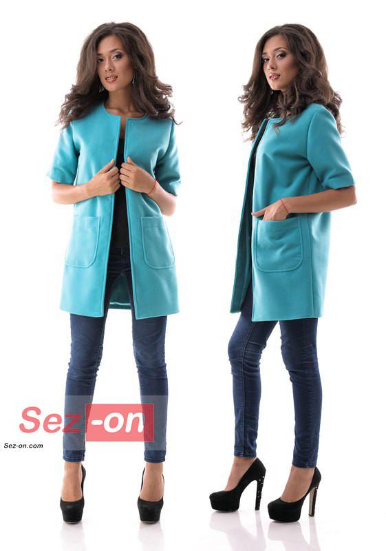 Кашемірове Пальто жіноче з короткими рукавами ― Бірюзовий