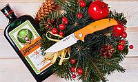 Нож складной, для решения различных задач, с объёмными оранжевыми накладками, с высверленными лайнерами, яркий, фото 1