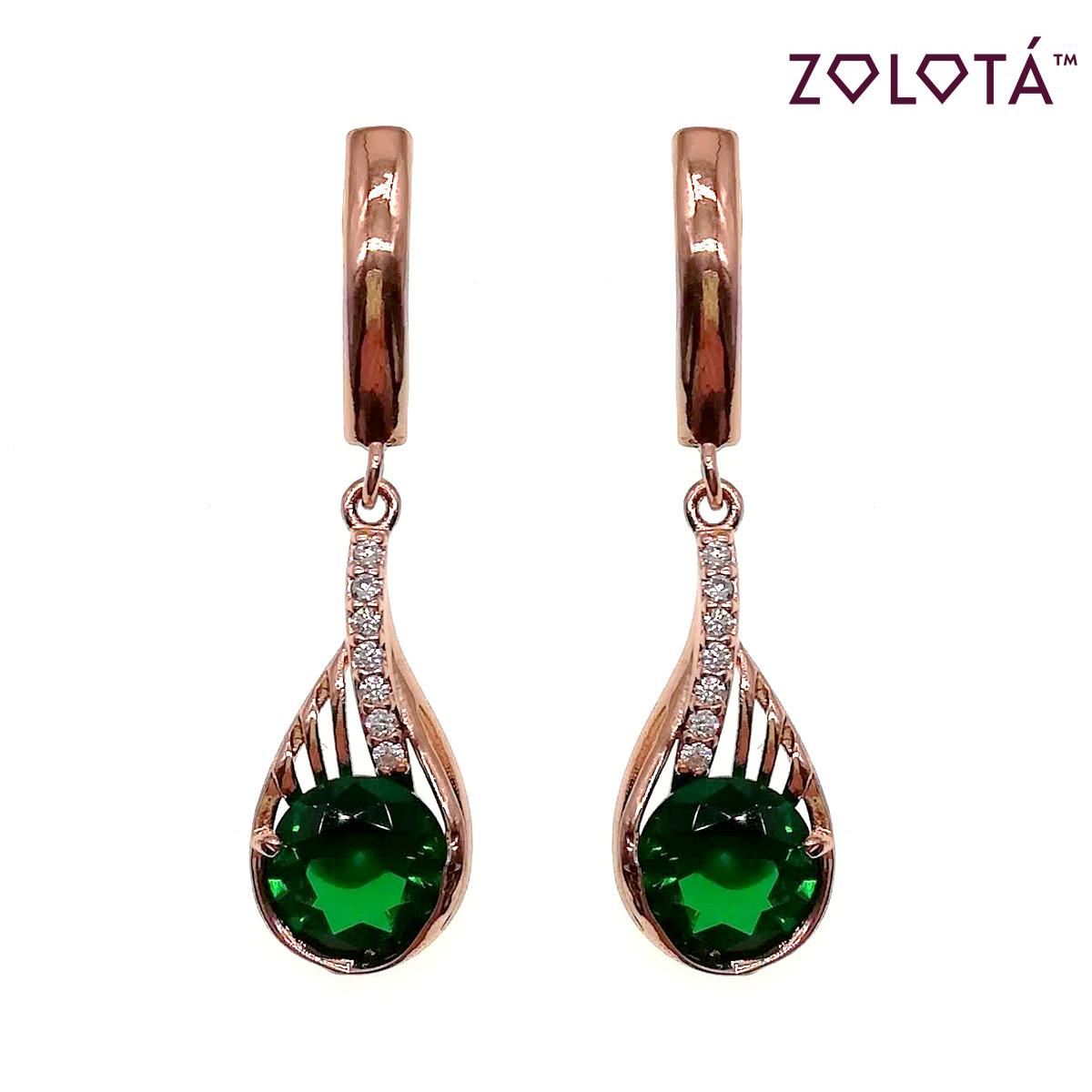Серьги Zolota из медицинского золота с зелеными и белыми фианитами (куб. цирконием), в позолоте, ЗЛ00676 (1)