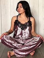 Пудровая велюровая пижама штаны и майка, женские пижамы., фото 1