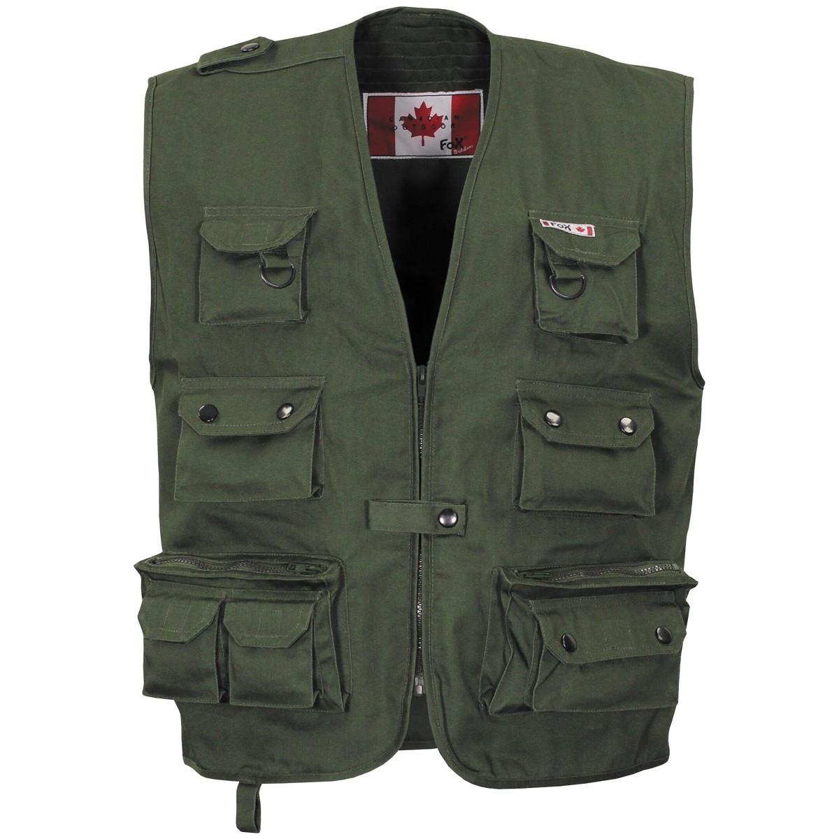 Канадский открытый жилет тёмно-зелёный (олива) Fox Outdoor