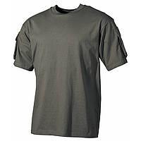 Тактическая футболка спецназа США, тёмно-зелёная (олива), с карманами на рукавах, х/б MFH, фото 1